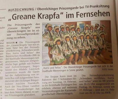 Bayrischer Rundfunk, Schwaben weiss blau Hurra und Helau, Prinzengarde, BR, Südwestpresse, Prinzengarde der Karnevalsgesellschaft Greane Krapfa Oberelchingen 1957 e.V.